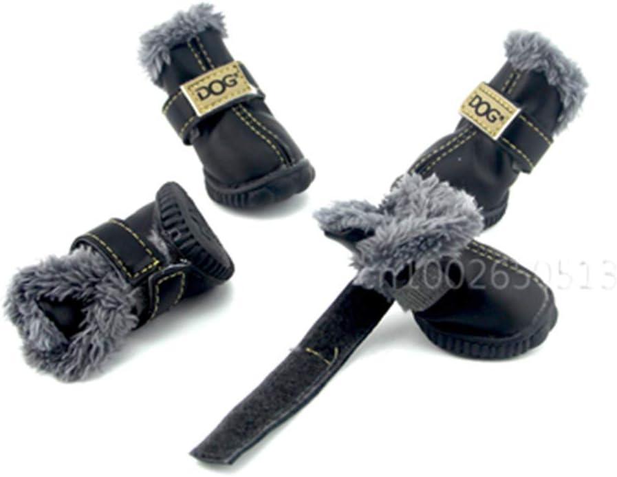 Feidaeu Zapatos para Mascotas 4 Unids/Set Botas de Nieve Impermeables de Cuero Cómodo, Transpirable, Antideslizante, ecológico, económico para Mascotas Zapatillas al Aire Libre
