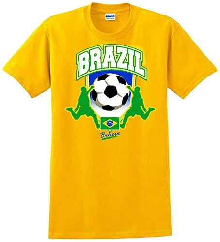 Encore Select Men's Brazil Soccer T-Shirt, Yellow, X-Large