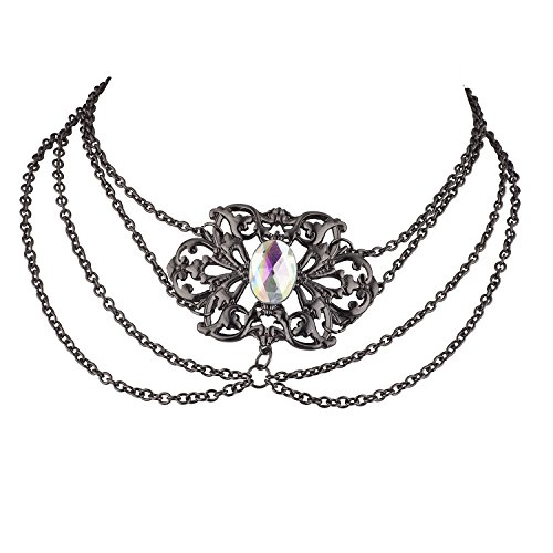 Lux Accessories Hematite Tone Vintage Princess Victorian Casted Draped Choker -