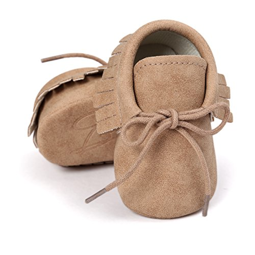 RVROVIC Baby Boys Girls Moccasins Soft Sole Tassels Prewalker Anti-Slip Shoes (S:0~6 months, PU Khaki)