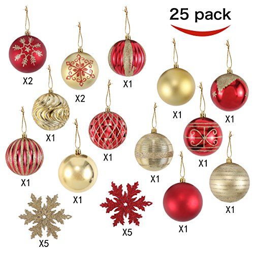 Joiedomi 25 Pack of Christmas Ball Ornaments Set for Christmas Tree Decoration, include 15 Red and Gold 3.15 inch Balls and 10 6 inch Snowflake Ornaments