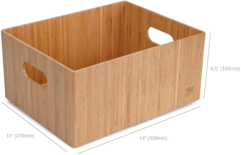 """MobileVision Bamboo Storage Box, 14""""x11""""x 6.5"""", Durable Bin w/Handles, Stackable - for Toys Bedding Clothes Baby Essentials Arts & Crafts Closet & Office Shelf"""