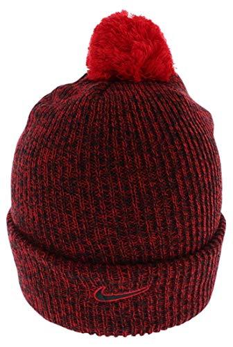 Nike Unisex Cuff Pom Lebron Patch Red Beanie Hat OS
