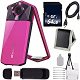 Casio Exilim EX-TR70 Selfie Digital Camera (Vivid Pink) (International Version) No Warranty + Micro HDMI Cable + SD Card USB Reader + Memory Card Wallet + 64GB SDXC Class 10 Memory Card Bundle