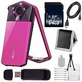Casio Exilim EX-TR70 Selfie Digital Camera (Vivid Pink) (International Version) No Warranty + Micro HDMI Cable + SD Card USB Reader + Memory Card Wallet + 64GB SDXC Class 10 Memory Card Bundle