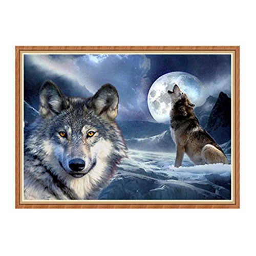 TiTCool 5D Diamond Painting by Number Kits,Chicken Wolf Color Lion, Diamond Embroidery Arts Pasted Craft DIY Room Decor (B)