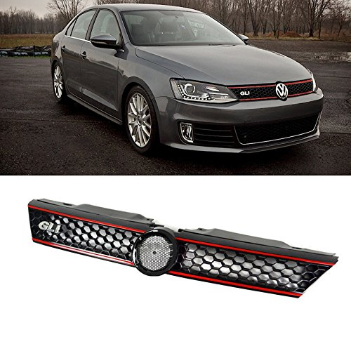 VIOJI 1pc Black Strong ABS Plastic Honeycomb Mesh Style Front Main Upper Grille With GLI Emblem & Red Trim Fit 11-14 Volkswagen Jetta MK6 4-Door Sedan (Honeycomb Main Grille)