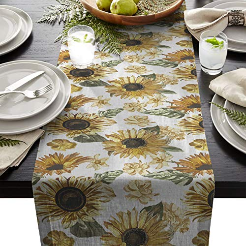 Sunflower Cotton Linen Table Runners Flower Decor Tablecloths for Kitchen Garden Wedding Parties Dinner Indoor Outdoors Home Decorations (18