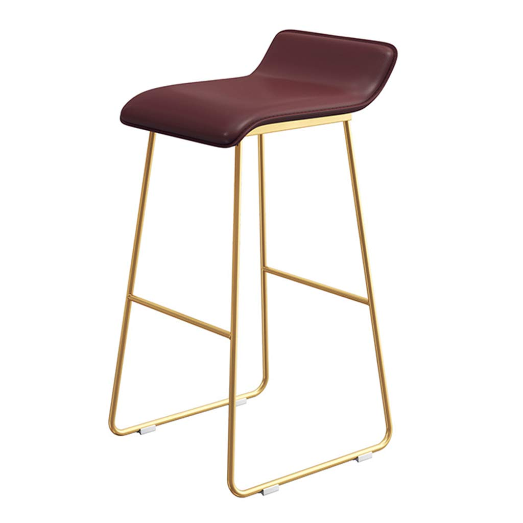 Seat height 65cm Fashion Wrought Iron Bar Stool   Kitchen Breakfast High Chair   with Backrest and gold Bracket Legs   - Wine Red Faux Leather Design (Sitting Height  65 70 75CM)