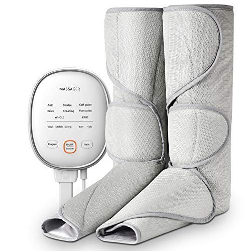 Leg Massager Air Compression Tespo Wraps Massages for Foot and Calf Circulation 3 Intensities 6 Modes with Heat, Handheld Controller