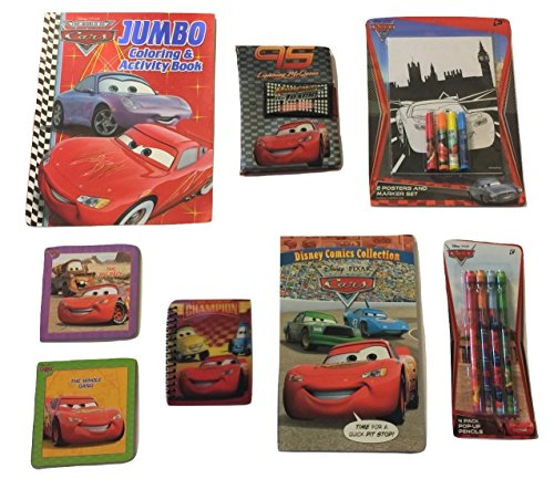 Page Race Poster - Disney Cars Activity Gift Set ~ The Big Race (144 Page Coloring Book, Disney Comics, Poster and Marker Set, Lenticular Journal, Velcro Journal, Pop-up Pencils, Board Books; 8 Items, 1 Bundle)