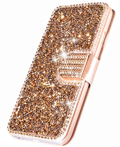 iPhone Xs Max Case,iPhone Xs Max Wallet Case,FLYEE [Kickstand] Bling Rhinestone Flip Case Magnetic Crystal Protective Leather with Card Slot for iPhone Xs Max 6.5 inch Rose Gold