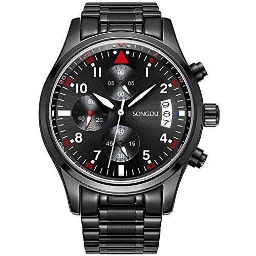 SONGDU Herren Quarz Armbanduhr Schwarz Edelstahl Armband mit Chronographen Analog Kalender Datum Luminous Ziffer White Zeiger