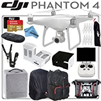 DJI Phantom 4 Quadcopter w/ eDigitalUSA Advanced Bundle: Includes 2 Intelligent Flight Batteries, SanDisk 64GB Extreme MicroSD Card, Monitor Hood, Manfrotto Backpack for Phantom 4 and more...