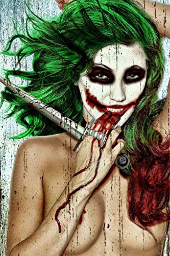 Get Down Art Daveed Benito Serious Sexy Young Woman Joker Green Hair Dagger Bloody Perfect Body Poster 24x36 inch -