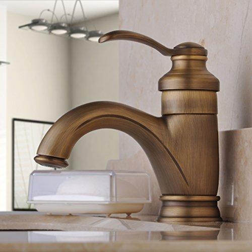 Hiendure Centerset Single Handle Antique Brass Bathroom Vanity Sink Lavatory Faucet - Single Antique Vanity