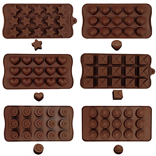 MOMOONNON 6PCS Making Chocolate Silicone Truffle Molds Jelly Pudding Baking Candy Mold Supplies Tools for Gummy Cake Ice Cube(90 Cavity) ()
