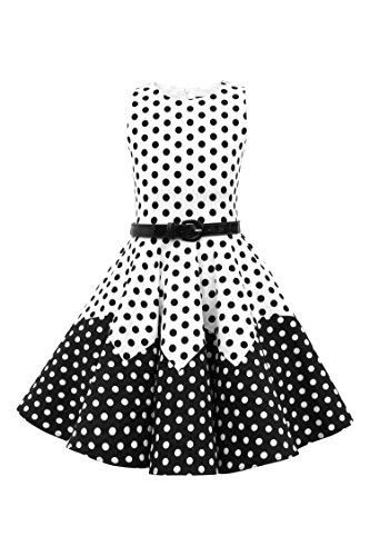 BlackButterfly Kids 'Amy' Vintage Polka Dot 50's Girls Dress (White - Black, 11-12 YRS)