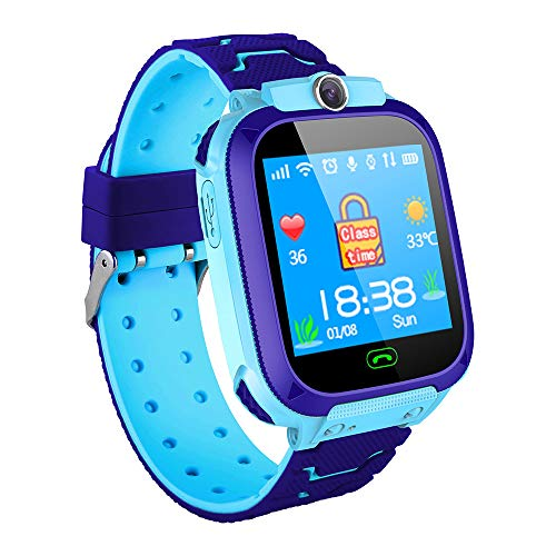 Docooler Kids Intelligent Phone Watch with SIM Card Slot 1.44 inch Touching Screen Children Smartwatch with GPS Tracking Function Voice Chat Photograph Compatible for Android and iOS Phone Pink/Blue