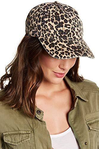 boderier Leopard Print Baseball Cap Adjustable Back Women Girls Cotton Hat with Matching Hoop Earrings (Leopard)