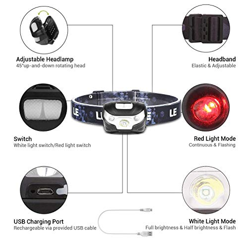 LE LED Rechargeable Headlamp, 5 Lighting Modes, IPX4 Waterproof, Adjustable and Comfortable,Bright Headlamps for Night Running, Camping, Hiking, Dog Walking, 2 Pack