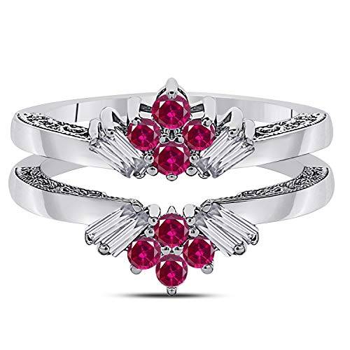 Jewelryhub 14k White Gold Plated Sterling Silver Dazzling Sunburst Prong Set Round & Baguette Enhancer Ring Guard with CZ Red Ruby (0.38 ct. tw.)