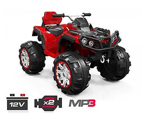 HAMMA Kinder Elektro Akku Quad Offroad elektrisch ATV Geländewagen Cross Dirt Pit Bike 2x 35W 12V VARIA (rot)