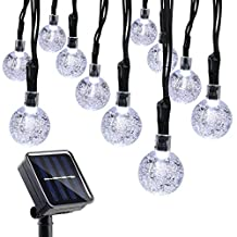 Qedertek Solar String Lights, 20ft 30LED Fairy Crystal Ball Decorative Christmas Lights for Outdoor, Home, Lawn, Garden, Patio, Party and Holiday Decorations (White)