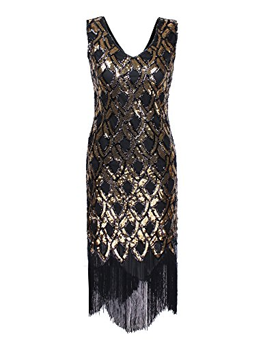 [PrettyGuide Women 1920s Vintage Deep V Neck Sequin Mermaid Flapper Costume Dress Gold L] (Flapper Outfit)