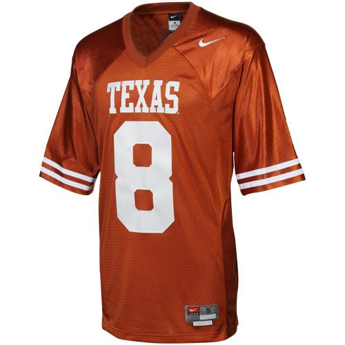 NCAA Nike Texas Longhorns #8 Twill Football Jersey - Burnt Orange (Small)