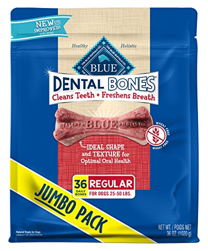 Blue Buffalo Dental Bones Natural Adult Dental Chew Dog Treat, Regular 36-oz bag Super Value -