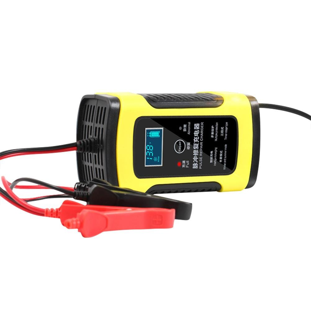 12V 6A Fully Intelligent Car Battery Charge, Smart Fast Lead-Acid Battery Charger with LCD Display Compatible Car Motorcycle That Will Constantly Monitor, Trickle Charge and Maintain Battery Ya-tube