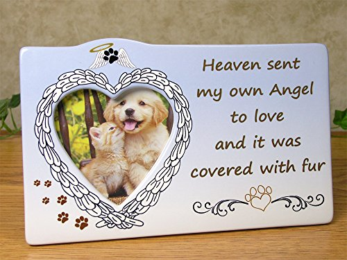 BANBERRY DESIGNS Pet Frame - Heaven Sent My Own Angel to Love and it was Covered with Fur - Heart Shaped Picture Opening with Easel Back - Loss of Dog or Cat