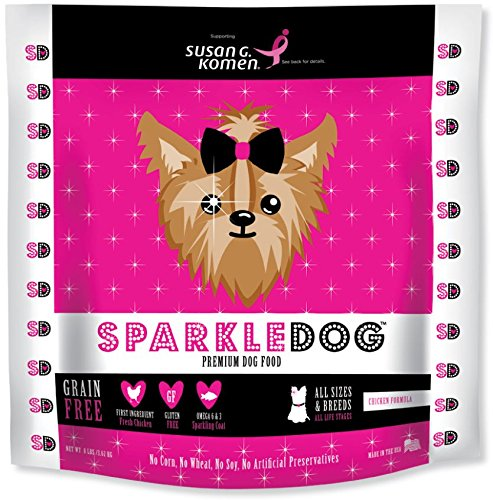 SPARKLEDOG FOOD. Grain Free - Small bite complete nutrition - Fresh Chicken, fruits and vegetables for a healthy canine skin and coat. Premium dog food. Made in USA. As seen on (Solid Core Bone)