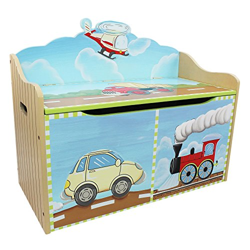(Fantasy Fields - Transportation Thematic Kids Wooden Toy Chest with Safety Hinges   Imagination Inspiring Hand Crafted & Hand Painted Details   Non-Toxic, Lead Free Water-based Paint)