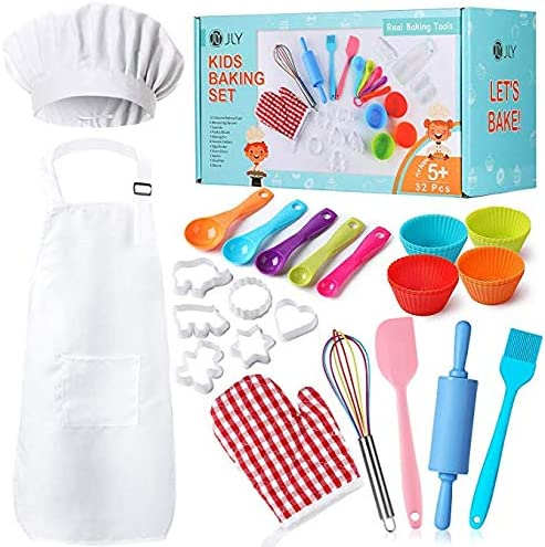 Real Kids Baking Set 32 Pcs includes Kids Apron Chef Hat Oven Mitt Real Baking Tools - Baking Sets for Children Best Suited Gift For Boys & Girls (For Age 5+) / Real Kids Baking Set 32 Pcs includes Kids Apron Chef Hat Oven Mitt Rea...