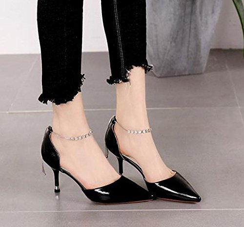 Chain Head Hollow Buckle Heels Heel One Drill Shallow Pointed Shoe Work Water Word Elegant Sexy Single Black Mouth Leisure 7Cm Spring Lady Sexy Fashion MDRW 36 wOvPqS1x