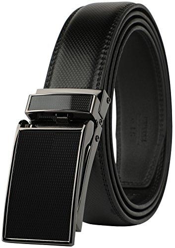 Dress Suit Belt - Belt for Men, Genuine Leather Ratchet Dress Comfort Belt with Slide Click Buckle, Trim to Fit (28