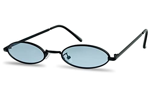 4fcd1494b9d33 Ultra Small Oval Vintage Sun Glasses Slim Retro Steampunk Slender Candy  Color Tinted Shades (Black