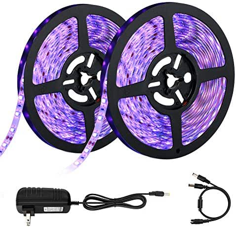 UV Black Lights Strip, OPPSK 33ft 600 Units UV LEDs, IP65 Waterproof Flexible Black Rope Lights with 12V/3A Adapter for Birthday Wedding Stage Home Decoration Glow in The Dark Party Supplies - 2 Pack