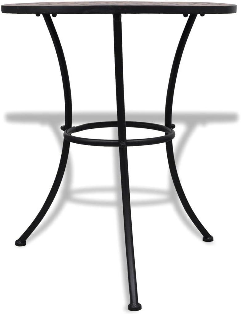 Marrone e Nero SOULONG Tavolo con Mosaico Robusta Telaio in Ferro,Tavolo da Bistro 60cm Tavolo di Mosaico da Balcone Giardino Tavolini da caff/è in Ceramica