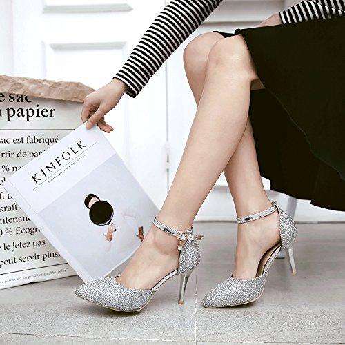 Alto Silver Stiletto Pompe Con Sposa Punta Donna Scarpe A Cinturino Da Hgdr Alla Caviglia Tacco qBwn644x
