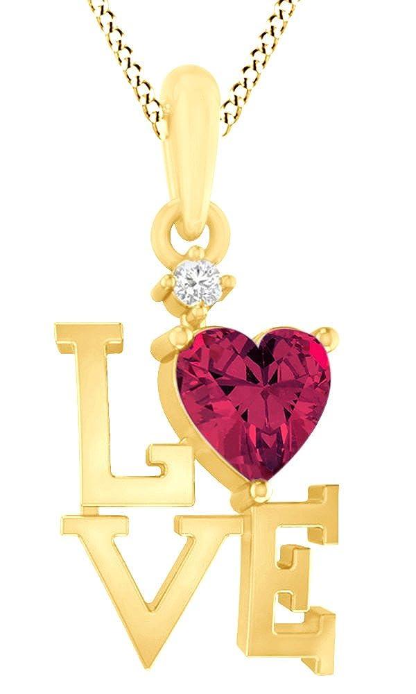 AFFY Halskette mit Anhänger aus 925 Sterlingsilber, künstlicher Rubin und weißer Zirkonia, Doppelherz, 18 Karat Gelbgold vergoldet