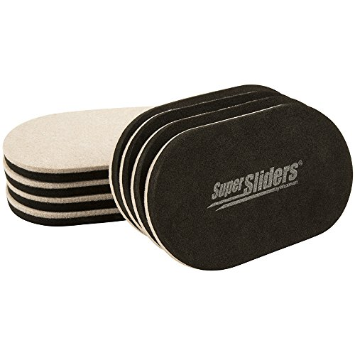 SuperSliders 4705395N Reusable XL Heavy Furniture Sliders for Hardwood Floors- Felt Floor Protectors, 9-1/2