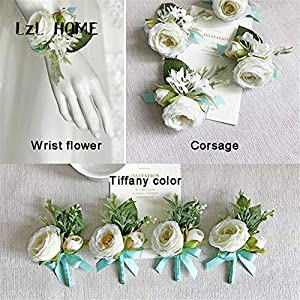 Lovgrace Wrist Corsage Wedding Silk Flowers Bracelet Wedding Prom Wrist Corsage Hand Flower Marriage Wedding Accessories 2pcs. 101