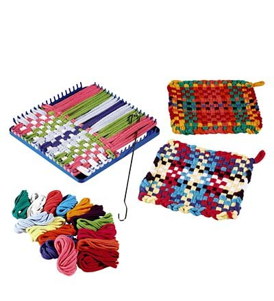 (HearthSong Children's Potholder Hook and Loop Kit - Includes 115 Non Fading Cotton Loops, Loom, and Weaving Hook - Multi-Colored - DIY Arts and Crafts for Kids - 7.5'' Sq)
