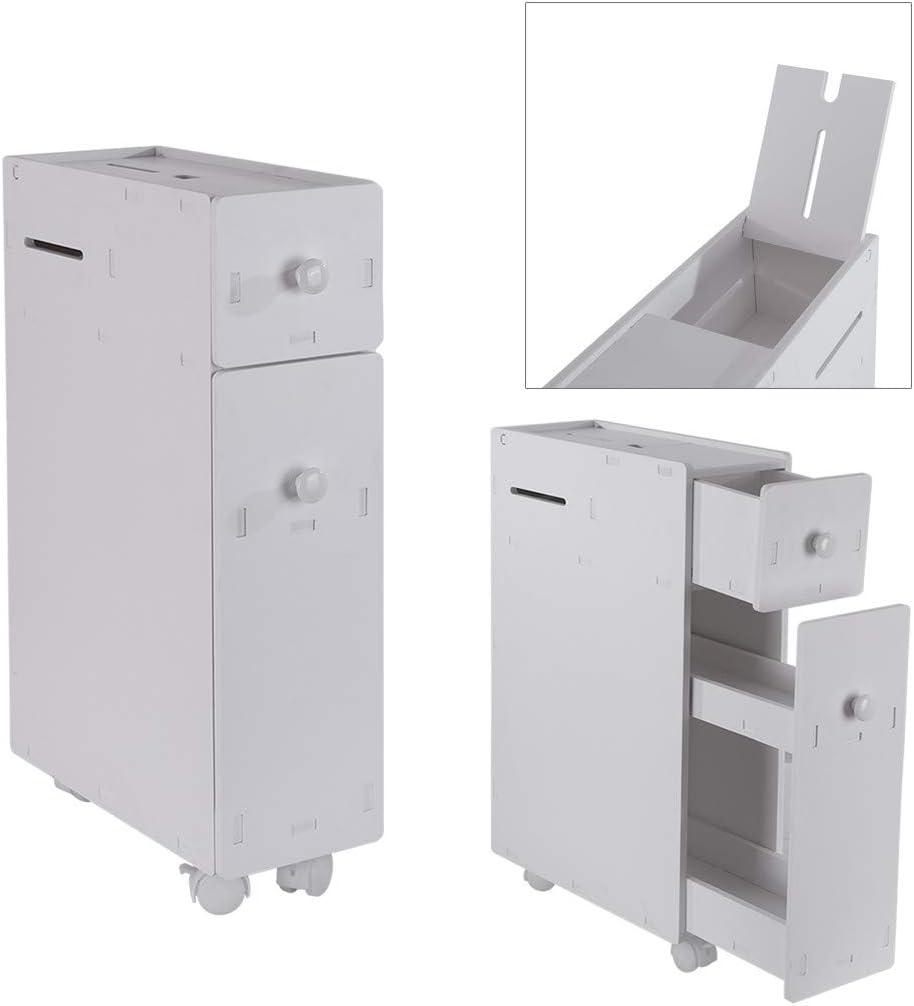White 2 Drawers MONIVEVE Bathroom Cabinet Coffee Table Floor Cabinet Multifunctional Bathroom Storage Organizer Rack Stand