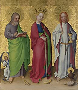 The high quality polyster Canvas of oil painting 'Stephan Lochner Three Saints ' ,size: 24 x 28 inch / 61 x 71 cm ,this Cheap but High quality Art Decorative Art Decorative Prints on Canvas is fit for Basement decoration and Home artwork and Gifts