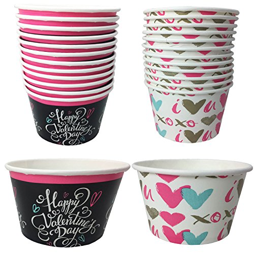 8oz Valentines Day Paper Ice Cream Snack Cups Bundle - Happy Valentines Day and Hearts - Set of 2 (24 ct Total)
