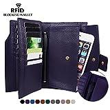 Befen Women's RFID Blocking Luxury Full Grain Genuine Leather Bifold Trifold Wallet Multi Card Organizer Holders for Ladies (Purple RFID Wallet Large)